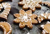 Assorted shapes of decorated sugar Christmas snow cookies.