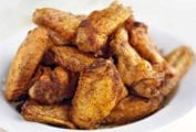 A bowl of five spice chicken wings.