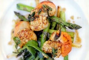 A pile of seared scallops, asparagus, and leeks on a white plate.