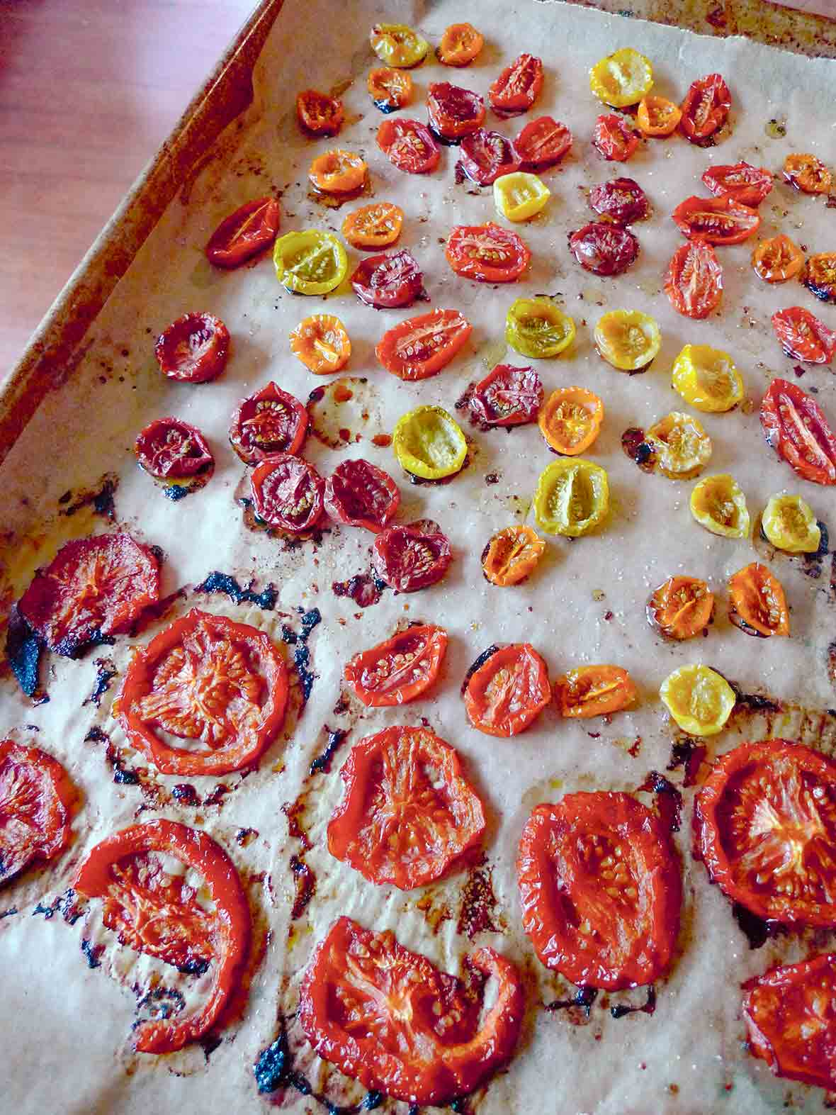 A rimmed baking sheet filled with assorted oven-roasted tomatoes.