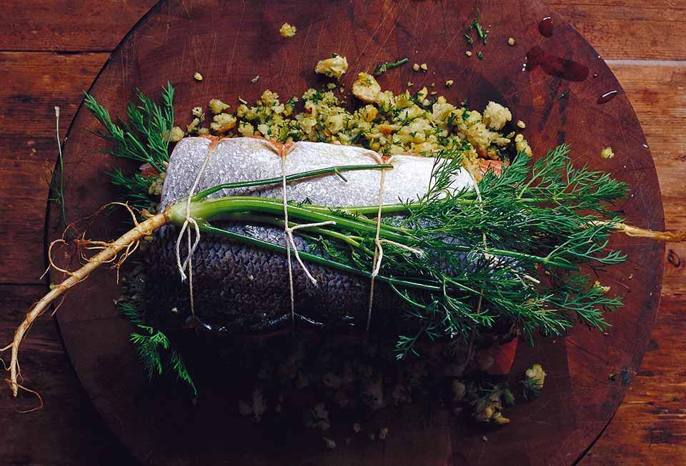 Herb Stuffed Baked Salmon