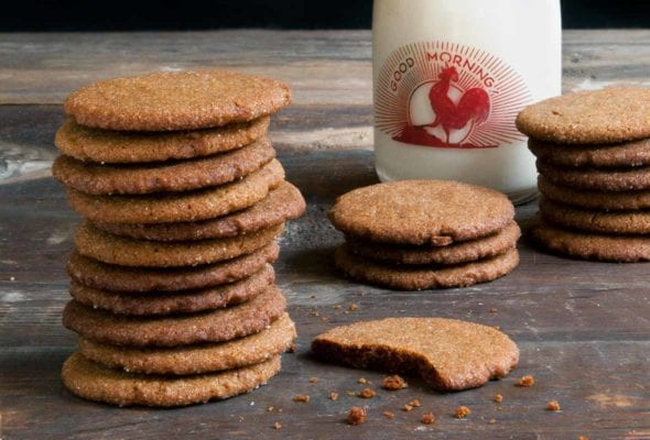Three stacks of gingersnaps, one broken cookie, and a glass bottle of milk