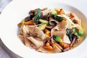 Pasta Rags with Wild Mushrooms and Brussels Sprouts
