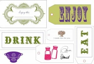 A printable sheet of holiday gift labels.