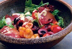 Mixed Green Salad with Prosciutto and Cherries