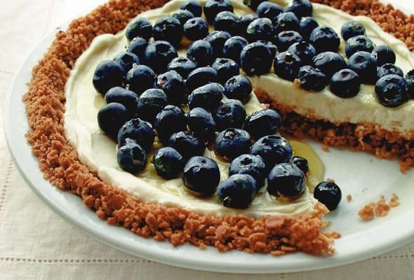 Blueberry Yogurt Pie with Granola Crust