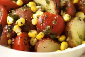 Potato, Corn, and Tomato Salad with Basil Dressing