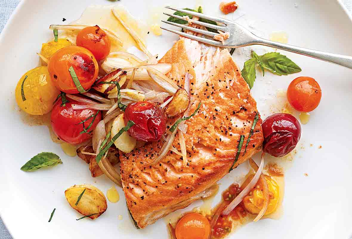 Grilled Striped Bass Recipes Barefoot Contessa salmon with cherry tomatoes