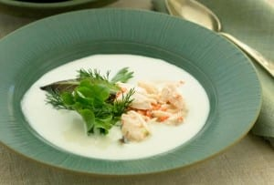 Portuguese White Gazpacho with Crab Salad