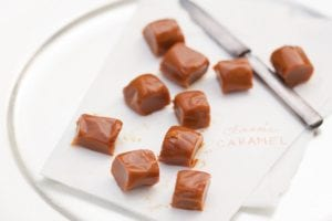 Pieces of classic caramels on a sheet of parchment.