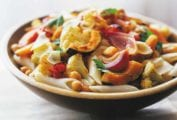 Wooden bowl of pasta with Roasted Vegetables