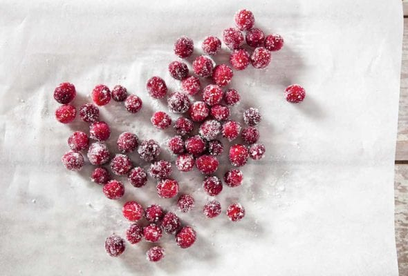 Several sugared cranberries scattered across a sheet of parchment.