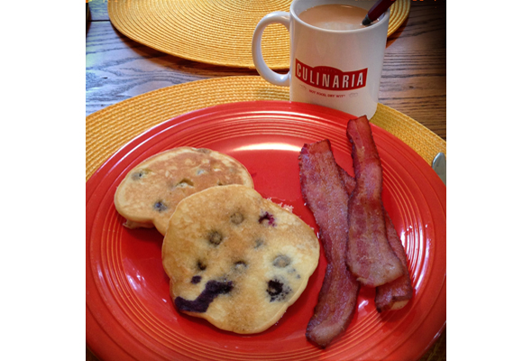 Homemade Bacon with Blueberry Pancakes