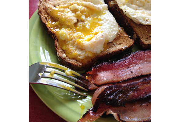 Homemade Bacon with Soft Eggs