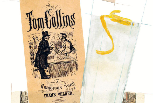 A glass of Tom Collins with a lemon twist, an old photograph, and a Tom Collins pamphlet.