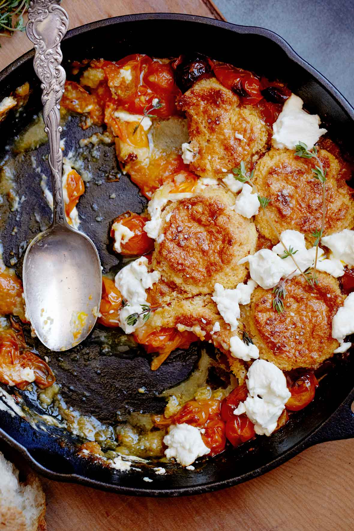 Tomato and Goat Cheese Cobbler