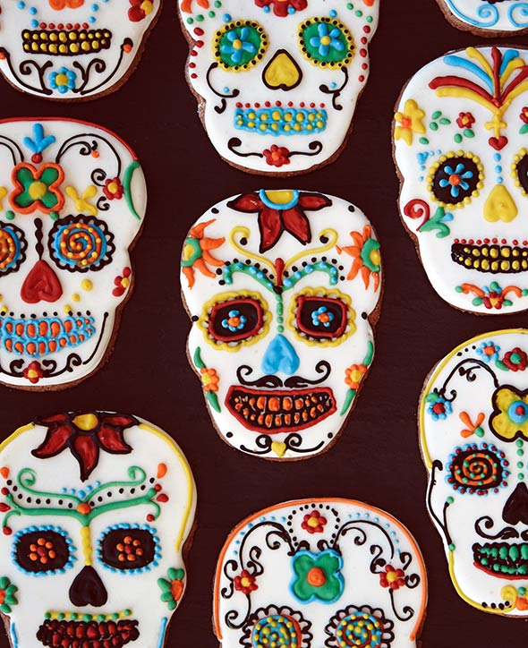 An assortment of day of the dead cookies