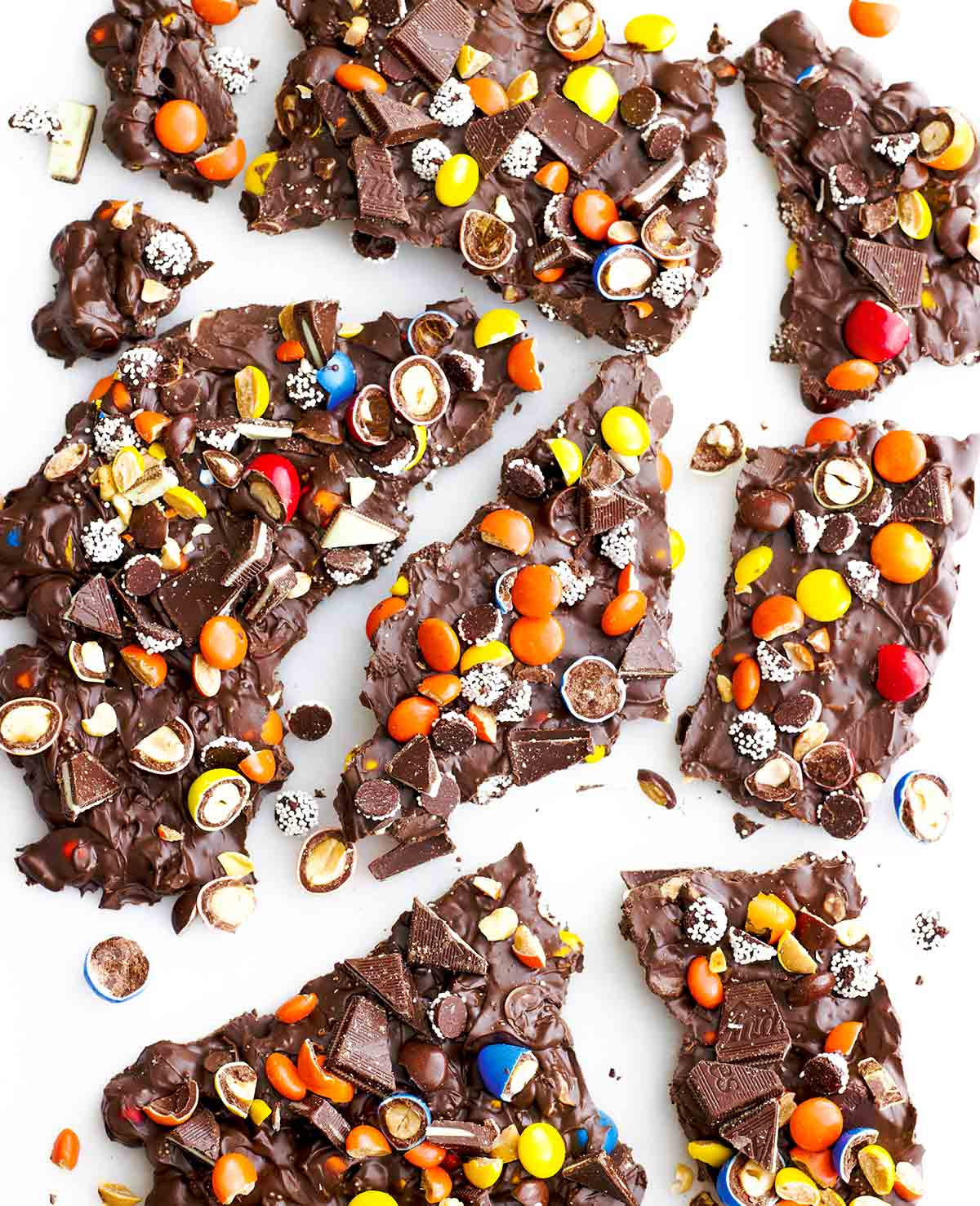 Broken pieces of leftover Halloween candy bark.