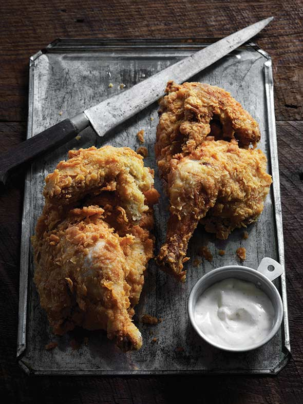 Cornmeal-Crusted Fried Chicken with White Barbecue Sauce