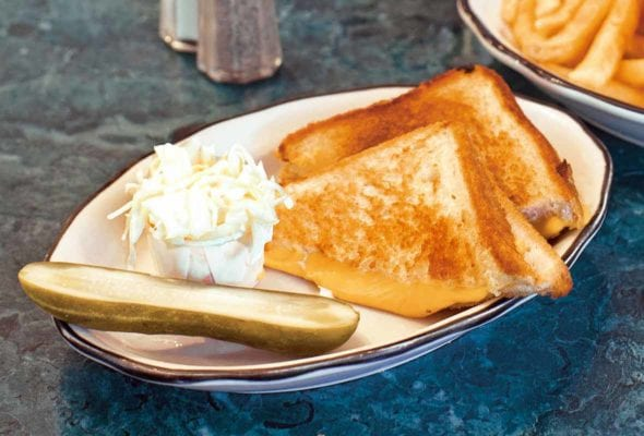 A classic grilled cheese sandwich--buttered grilled bread and oozing Cheddar cheese