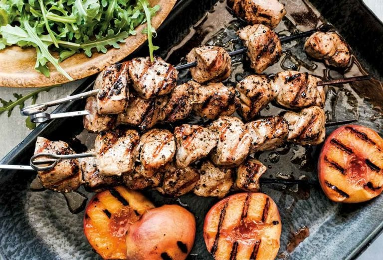 Grilled Pork Skewers with Peaches
