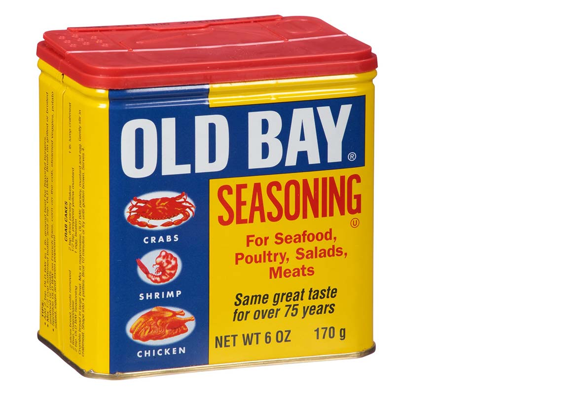 A classic Old Bay tin filled with homemade Old Bay seasoning.