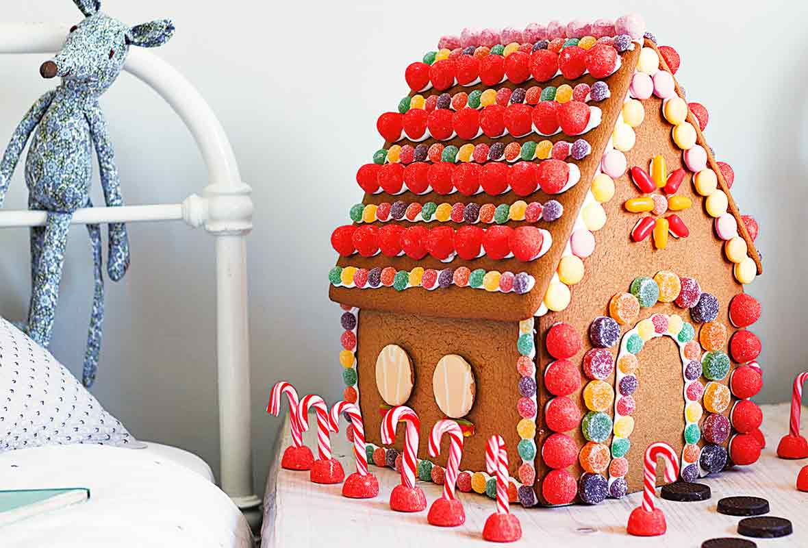 An elaborately decorated gingerbread house