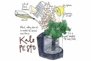 An illustration of kale pesto ingredients being added to a food processor