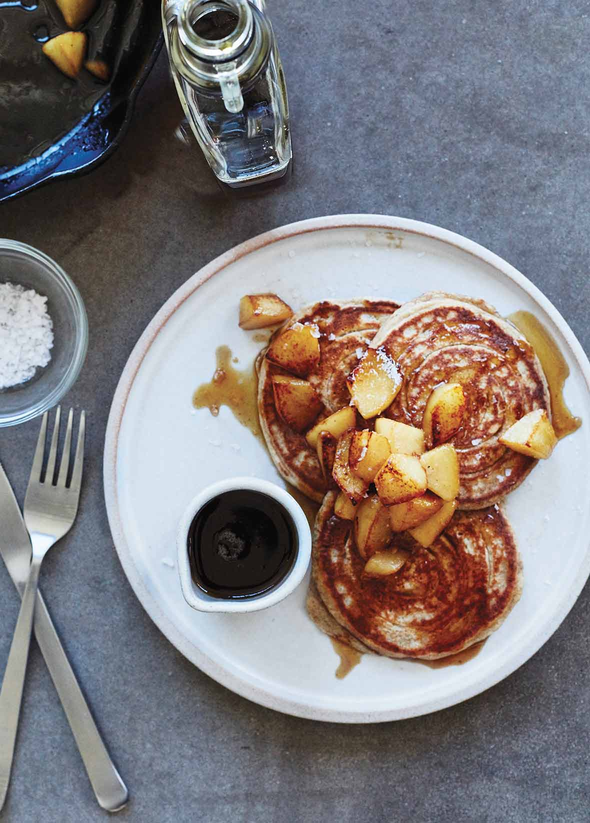 Rye Pancakes with Maple Pears