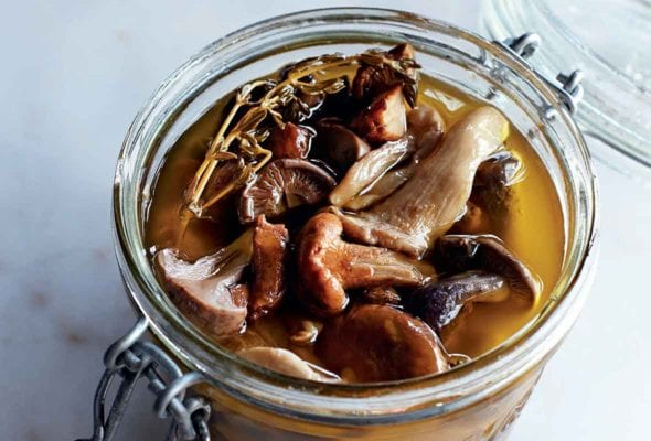 A canning jar filled with pickled wild mushrooms and a sprig of thyme.