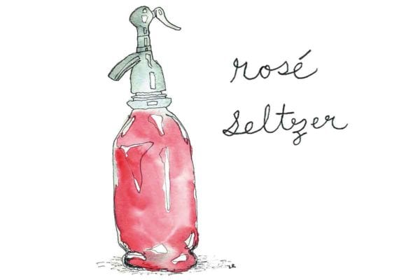 An illustration of a bottle of rosé seltzer.