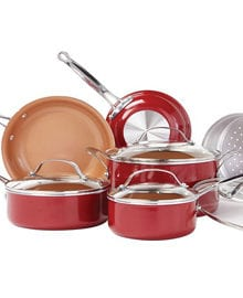 Red Copper Ceramic Cookware Set