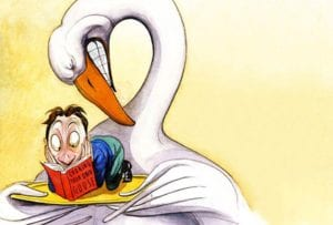 An illustration of a goose holding platter with a man reading