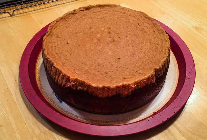 A round gingerbread cheesecake with a crumb crust sitting on a white and red plate