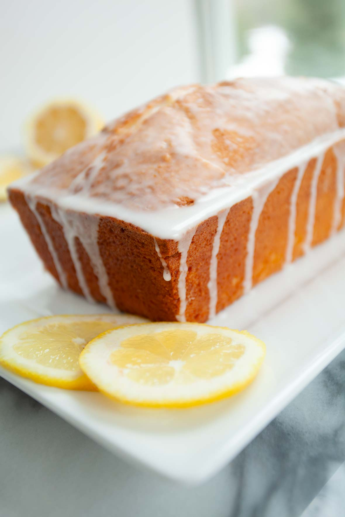 A cream cheese pound cake with lemons