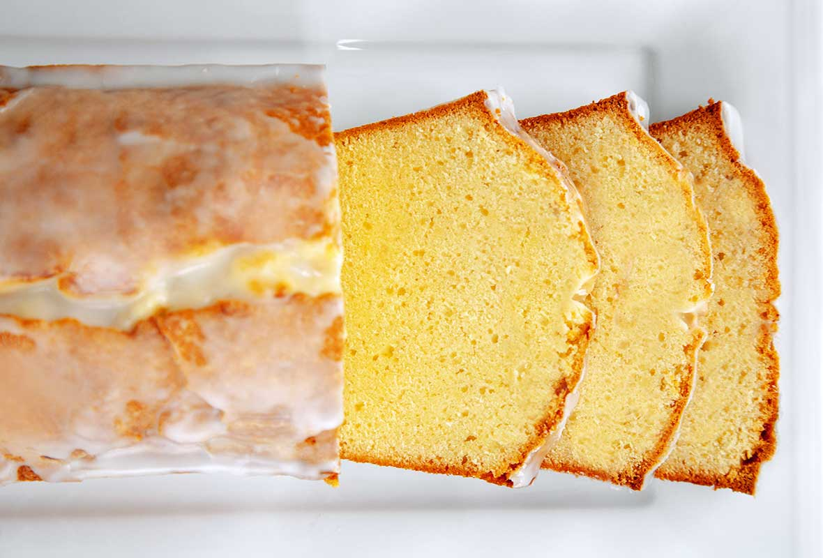 A cream cheese pound cake with a lemon glaze