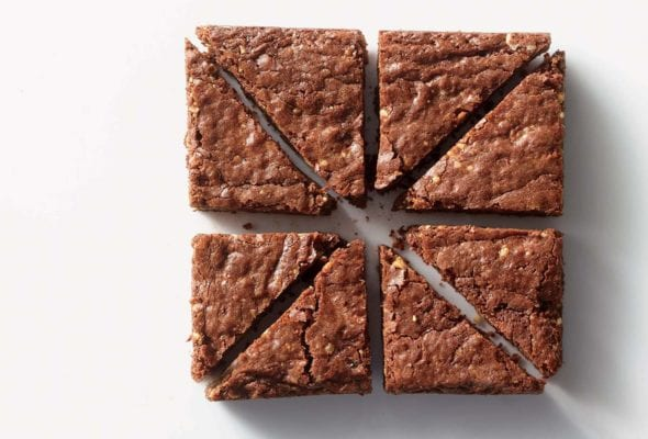 Eight triangle shaped pieces of nutella brownie.