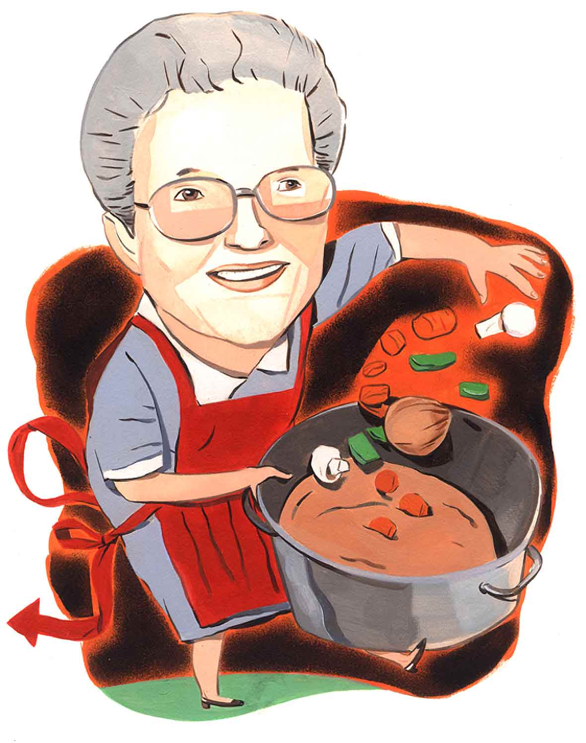 Illustration of a woman in a red apron holding a pot of stew