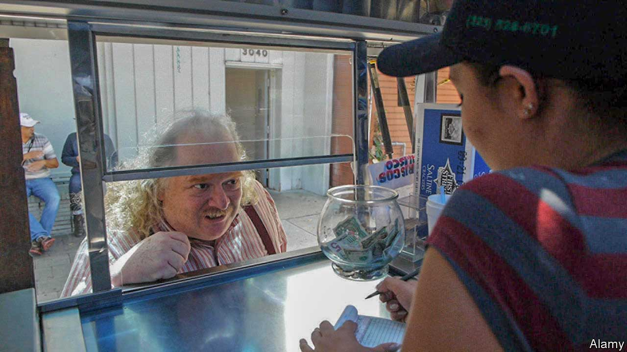 Jonathan Gold peering into a food truck as a woman takes his order