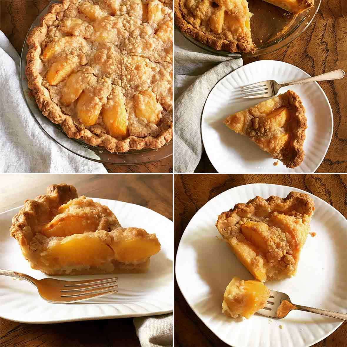 Four pictures of a peach and creme fraiche pie