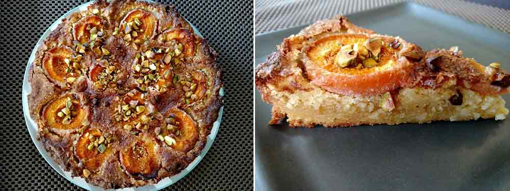 Two photos of an apricot-frangipane tart--the left is the whole tart, the right is a slice on a square plate