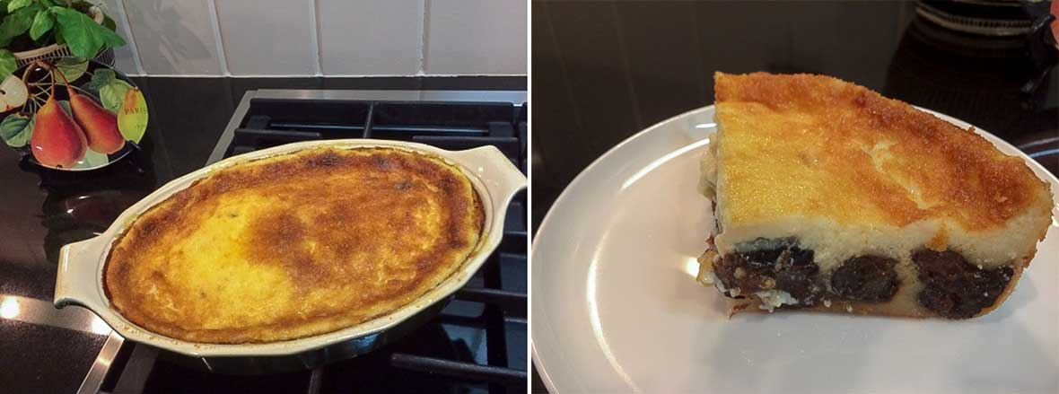 Two pictures of a far Breton, a French custard cake with prunes, one photo is of a the far Breton in a casserole, the other ] is of a slice