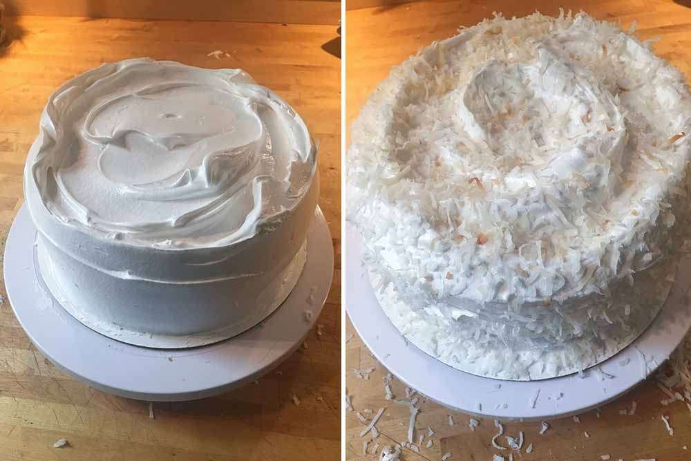 Two photos of Magnolia Vakery's coconut layer cake--left is plain, right covered in shredded coconut