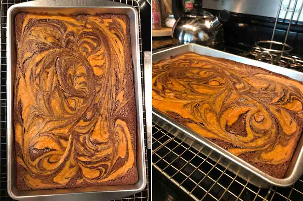Two images of sheet pan of orange and brown pumpkin swirl brownies fresh out of the oven