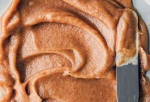 Swirls of vegan caramel with a knife on the side
