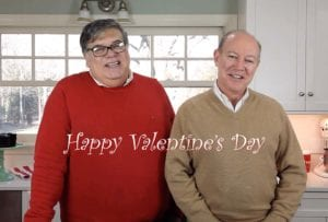 David Leite and The One in their kitchen wishing you Happy Valentine's Day