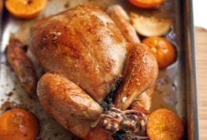 A whole roast chicken in a roasting pan with halved citrus fruits around it