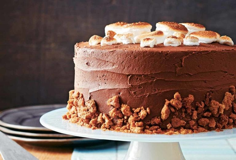A s'mores cake on a white cake stand topped with toasted marshmallows and graham crumbs.