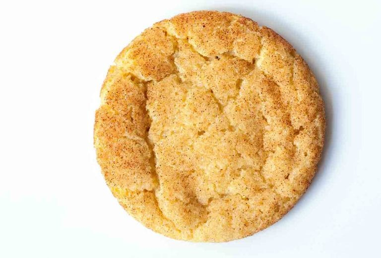 An overhead view of a single snickerdoodle.