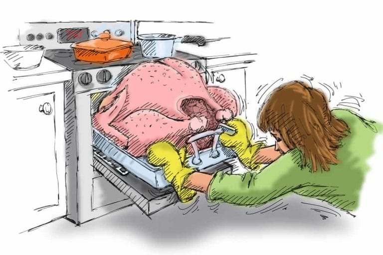 An illustration of a cook attempting to fit a too-big turkey into a small oven.